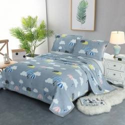 云貂绒加厚包边毛毯双面绒毯子车用旅行法莱绒毛毯 枕套床单盖毯