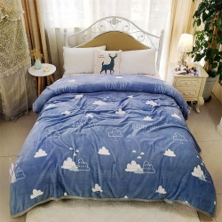 350克双面绒午休云貂绒毯车用旅行法莱绒毛毯珊瑚绒床单盖毯子