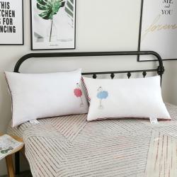 沐希枕业  火烈鸟纯棉羽丝绒情侣枕一对装枕头枕芯