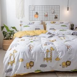 卡通纯棉可爱儿童小鹿儿被套四件套 全棉三件套床单床笠