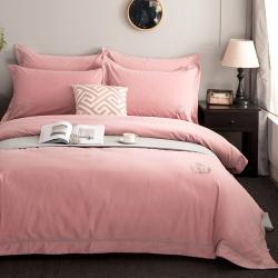 爱妮菲 加厚纯棉磨毛纯色大气格酒店风四件套婚庆床上用品梵瑞尔