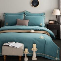 爱妮菲 加厚纯棉磨毛刺绣简约纯色酒店风四件套床上用品梵瑞尔