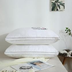 枕芯 全棉枕芯 全棉贡缎绣花羽丝绒枕(英文)枕芯 儿童枕芯