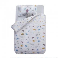御棉坊A类双层纱儿童被套水洗棉被芯幼儿园被子宝宝被罩五彩恐龙