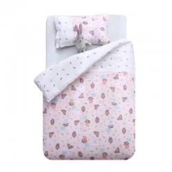 御棉坊A类双层纱布儿童被套纯棉婴儿幼儿园宝宝被罩林中小熊-粉