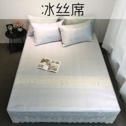 萝莉家纺 冰丝席三件套韩版蕾丝花边床裙式提花夏凉席可水洗机洗