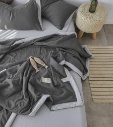 【总】水洗棉纯色夏被四件套空调被 斜纹加厚面料