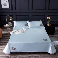时尚凉席 纯色烫花水洗冰丝席 床单三件套-温情脉脉/蓝