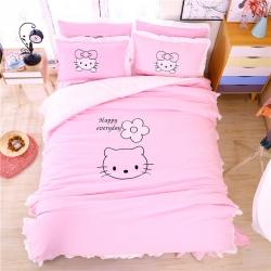 床单四件套卡通可爱ins粉色少女心公主风被套绣花凯蒂猫床品夏