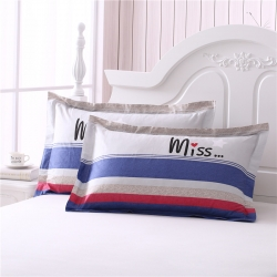 (总)简家居全棉枕套一对装纯棉印花枕头套单人枕芯套48x74