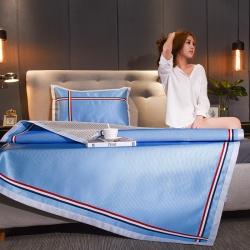 炫拼家纺 新款纯色冰丝席织带运动款凉席三件套  天空蓝