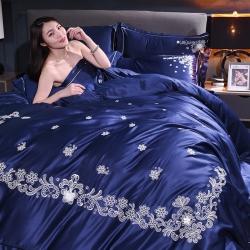 爱妮菲 2019新款水洗真丝四件套婚庆刺绣丝绸款双面冰丝床品