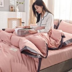 (总)全棉可可款四件套纯棉宽边纯色四件套水洗棉