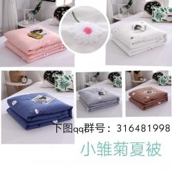 晓苑(总)ins小清新全棉水洗棉夏被毛巾绣夏凉被空调被四件套