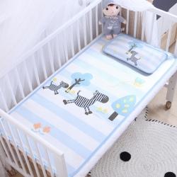 御棉坊 卡通大版儿童凉席两件套婴儿冰丝凉席幼儿园席子 斑马