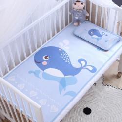 御棉坊 卡通大版儿童凉席两件套婴儿冰丝凉席幼儿园席子 小鲸鱼
