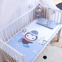御棉坊 卡通大版儿童凉席两件套婴儿冰丝凉席幼儿园席子 小企鹅