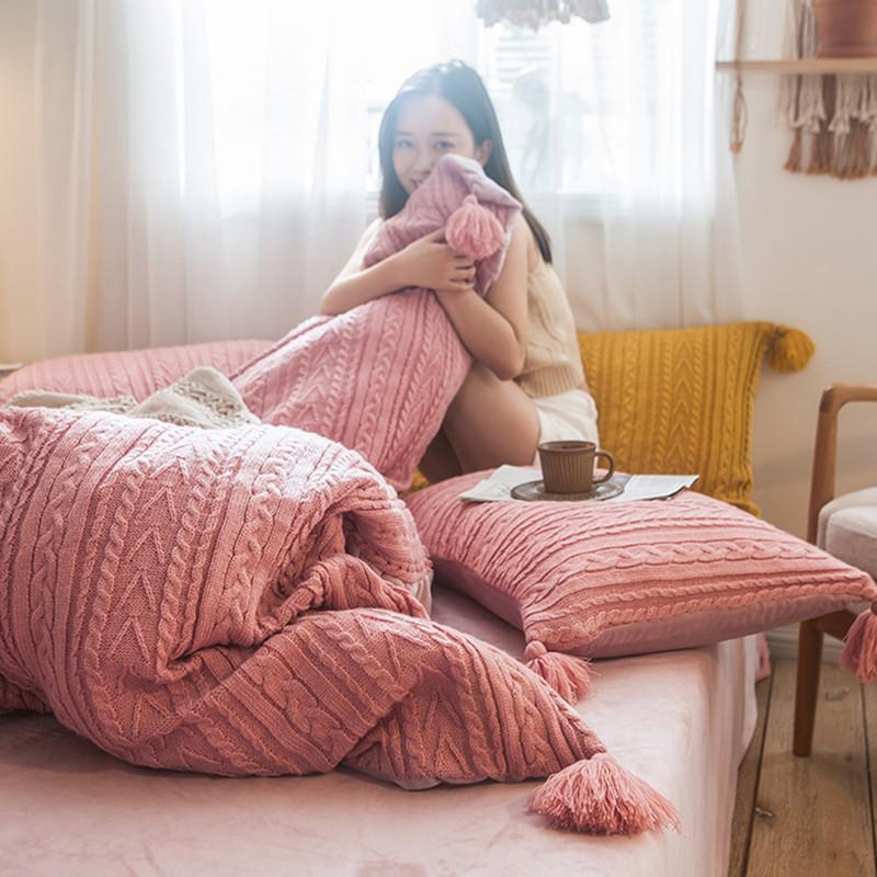 卡姿家纺 2019新款针织毛线系列四件套 针织毛线豆沙