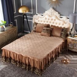 好眠好梦  罗曼情怀水晶绒系列拆卸式单床裙 罗曼情怀-浅咖啡