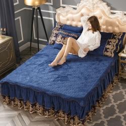 好眠好梦  罗曼情怀水晶绒系列拆卸式单床裙 罗曼情怀-宝石蓝