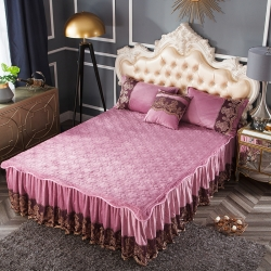 好眠好梦   罗曼情怀水晶绒系列拆卸式单床裙罗曼情怀-豆沙红