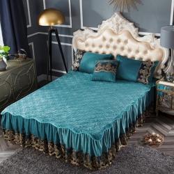 好眠好梦   罗曼情怀水晶绒系列拆卸式单床裙罗曼情怀-橄榄绿