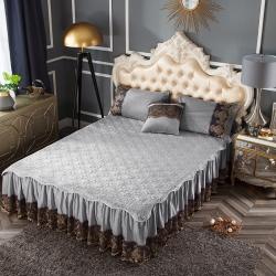 好眠好梦  罗曼情怀水晶绒系列拆卸式单床裙 罗曼情怀-银灰色