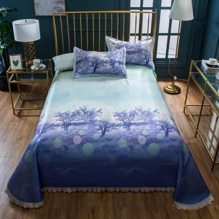 懒猫家纺 600D提花+印花床单款花边凉席 迷情时光