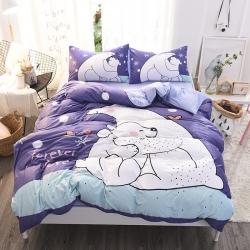达美家居2017第五批数码印花四件套床单款大白熊