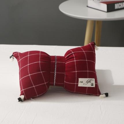 初舍家纺 水洗棉蝴蝶结抱枕靠垫枕  盛夏格