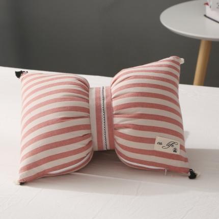 初舍家纺 水洗棉蝴蝶结抱枕靠垫枕  嫣红中条