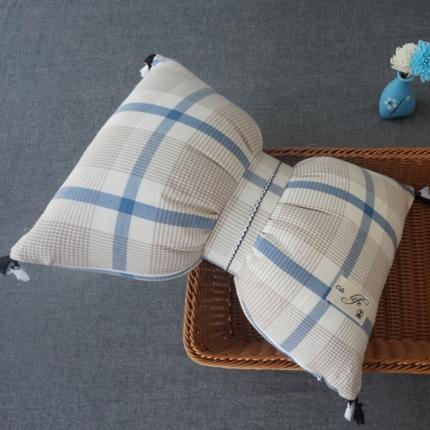 初舍家纺 水洗棉蝴蝶结抱枕靠垫枕  英伦蓝