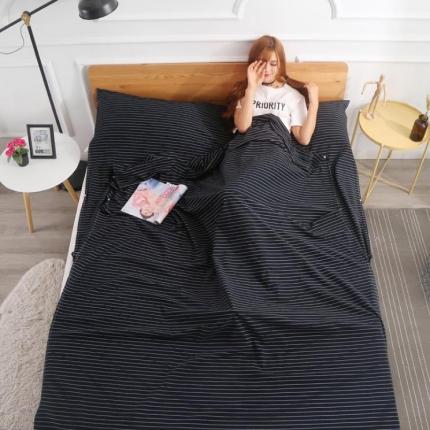 初舍家纺 全棉色织水洗旅行隔脏睡袋 黑白细条