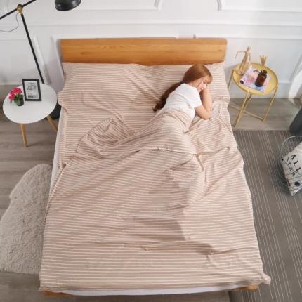 初舍家纺 全棉色织水洗旅行隔脏睡袋 咖中条