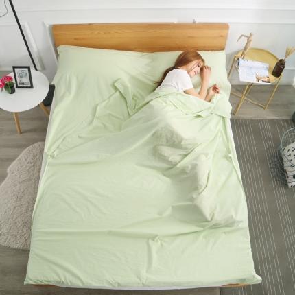 初舍家纺 全棉色织水洗旅行隔脏睡袋 嫩绿
