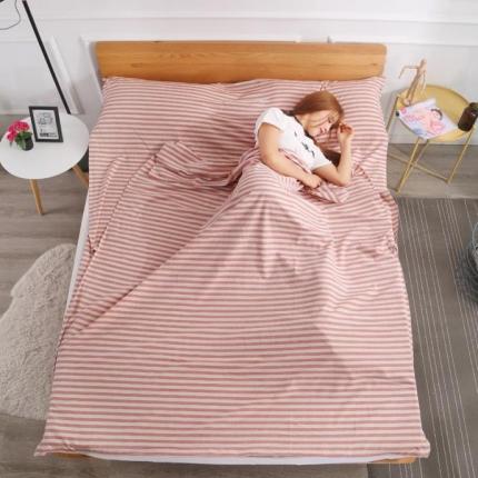 初舍家纺 全棉色织水洗旅行隔脏睡袋 嫣红中条