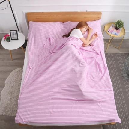 初舍家纺 全棉色织水洗旅行隔脏睡袋 紫中条