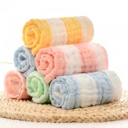 (总)萌朵家纺  6层纱布彩条方巾