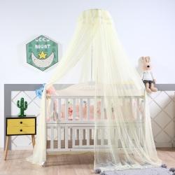 萌朵家纺 新款可调节宫廷豪华婴儿床蚊帐 黄色