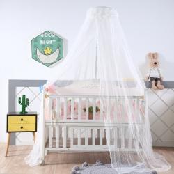 萌朵家纺 新款可调节宫廷豪华婴儿床蚊帐 白色
