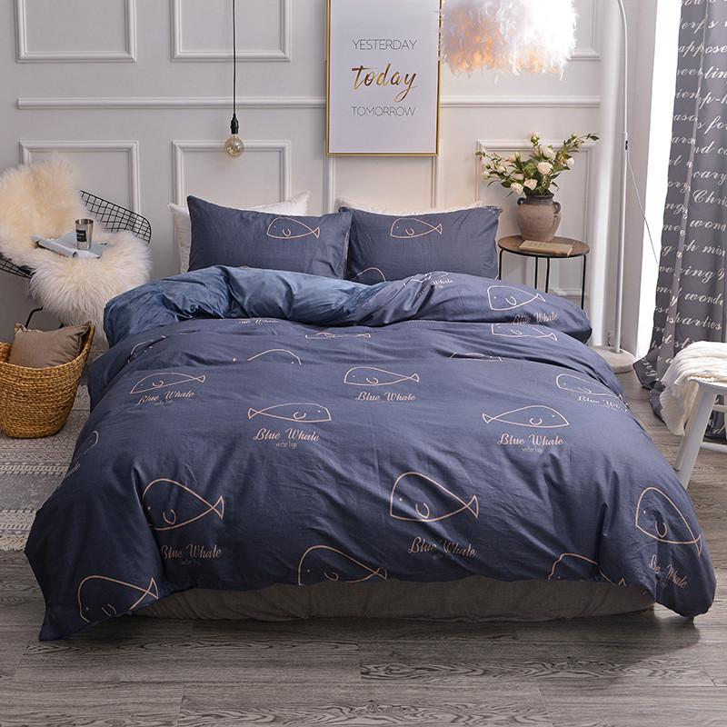 琪格格 2019新款棉加绒四件套床单款 棉绒小鲸鱼蓝