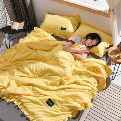 紫苏家纺 2019新款水洗棉夏被花边款 黄色