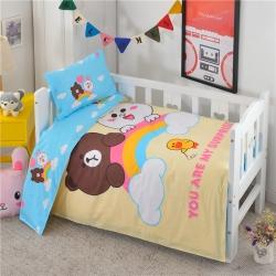 童澜家纺 13372全棉大版花幼儿园三件套彩虹熊