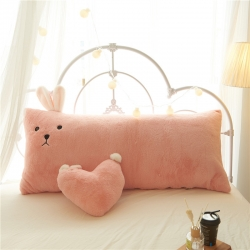 (总)鼎韵家纺 粉色白色兔子靠垫
