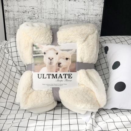 卜古家纺 ULTMATE羊羔绒毛毯升级版亚瑟白