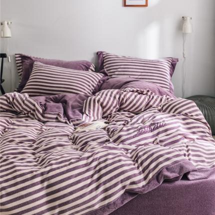卜古家纺 2018新品素织绒条纹绣花保暖四件套 条纹紫