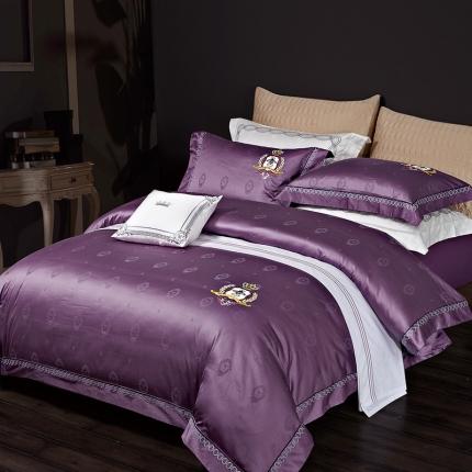 卓慕家纺 高支高密纯棉提花四件套威尼斯之恋系列威尼斯之恋-紫