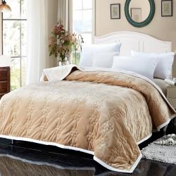 法兰家纺法兰绒加厚毛毯繁花被毯毛毯繁花被毯毛毯 驼色