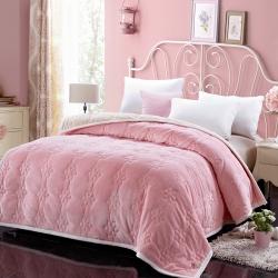 法兰家纺法兰绒加厚毛毯繁花被毯毛毯繁花被毯毛毯 粉红色