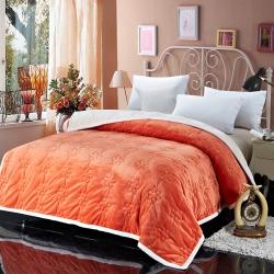 法兰家纺法兰绒加厚毛毯繁花被毯毛毯繁花被毯毛毯 桔色